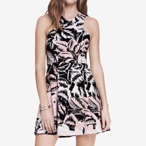 Express Tropical Criss Cross Neck Fit&Flare Dress